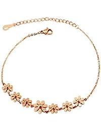 Encontrar calidad 14 K Rose plateado titanio acero flor Daisy cavigliere/pulseras para mujeres niñas (F988)