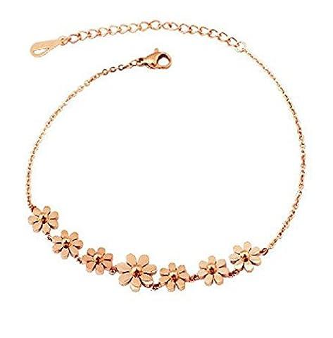findout 14K de haute qualité plaqué or rose en titane marguerite en acier bracelets de fleurs pour les femmes filles (de