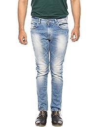 Spykar Mens Mid Blue Super Skinny Fit Low Rise Jeans - B06VVLJRXQ