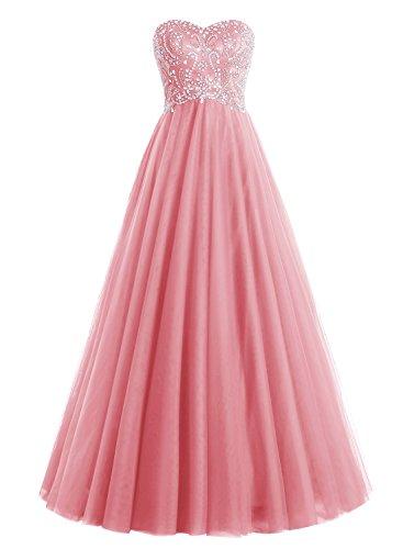 Bbonlinedress Robe de soirée et de bal A-line plissée emperlée florale bustier sans bretelle forme de cœur longueur ras du sol en tulle Corail