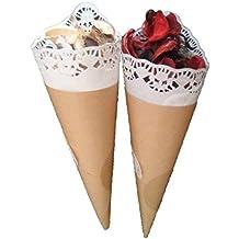 50 cucuruchos con blonda (wedding cones) para tus celebraciones, bodas ..