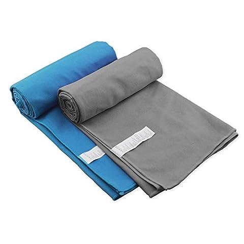 Serviette en microfibre ultra compact absorbant et séchage rapide de voyage sport Serviettes de première qualité de traitement antimicrobien pour Voyage, Sport, Gym, camping, bain, yoga, Pilates, le Bikram, la plage, de bain ou à la maison Bleu Bleu