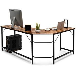 COSTWAY Computertisch L-Form, Eckschreibtisch, Schreibtisch PC-Tisch Computerschreibtisch Bürotisch Ecktisch Winkelschreibtisch, Farbwahl (Kaffee)