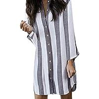 beautyjourney Vestido Suelto a Rayas de Manga Larga para Mujer Mini Vestido de algodón y Lino Camisa Larga de Moda Camisa Blusa Tops