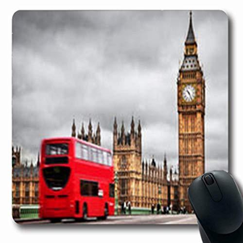 Mousepads Roter Bus-Helm-Bewegung Großbritanniens London große Parks im Freien draußen längliches Spiel Mousepad rutschfeste Gummimatte