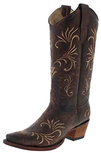 Corral Boots Damen Cowboy Stiefel L5185 Lederstiefel Braun 38.5 EU - Distressed Braun Cowboy Stiefel