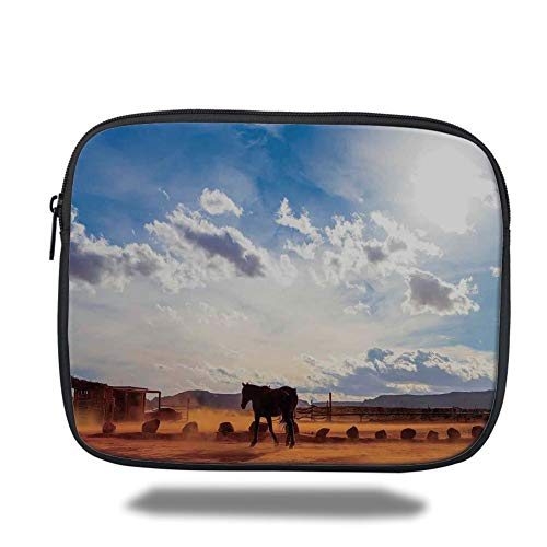 Laptop Sleeve Case,Western Decor,Horse in Monument Valley Open Sky with Clouds in Arizona America Landscape,Cream Blue,Tablet Bag for Ipad air 2/3/4/mini 9.7 inch