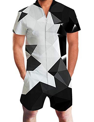 RAISEVERN Schwarz Weiß Geometrisches Muster 3D Mens Teens Sommer Kurzarm Overall Sonne Strampler Overall XL