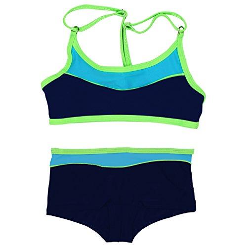 Aquarti Mädchen Sport Bikini - Badehose & Racerback Oberteil, Farbe: Dunkelblau / Grün, Größe: 140 (Strand-badehose Für Mädchen)