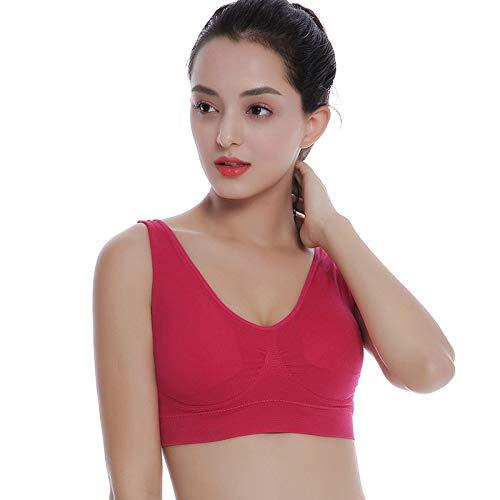 langchao Double-Layer-Mädchen Nahtlose Sport-BH Größe Keine Stahlring Weste Nahtlose Yoga Anpassung Unterwäsche Rose rot S -