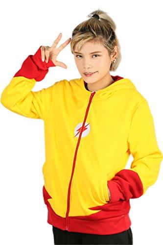 Cosplay Kostüm Kapuzen pullover Hoodie Gelb Sweatshirt Jacke Pulli Baumwolle Mantel Top Kleidung für Herren (Wally West Kostüm)