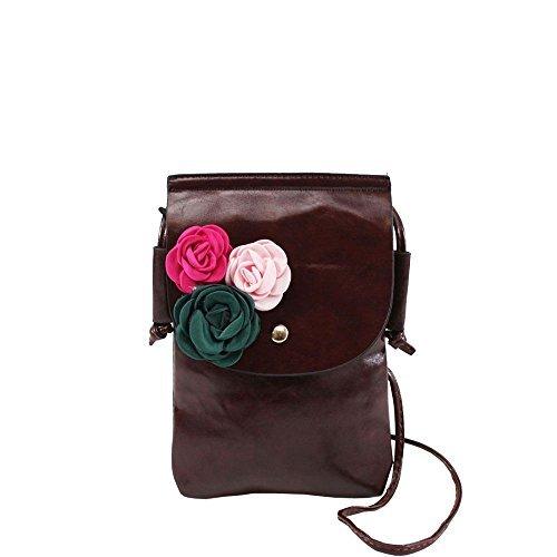 Haute für Diva S Damen NEU Kunstleder Textil Blumen Dekoration klein Umhängetasche Phone Tasche - Kaffee, Small Kaffee