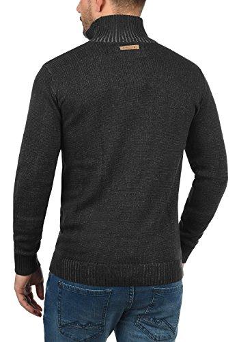 INDICODE Felipe Herren Strickpullover Feinstrick Pulli Troyer mit Stehkragen aus hochwertiger Baumwollmischung Meliert Black (999)