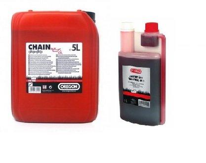 Preisvergleich Produktbild Oregon 1x 5l Kanister Sägekettenöl +1x 1:50 Mischöl 1l Dosierflasche