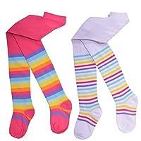 Girls 2 Pack Tights Unicorn Design Rainbow Stripes Pink Grey Cotton Size 1.5-10 Years