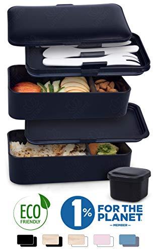 Umami® ⭐ lunch box nero mat   porta pranzo ermetico 2 scomparti e 3 coperchi con posate e porta condimento   per microonde e lavastoviglie   contenitori alimentari bento box portatile   no bpa