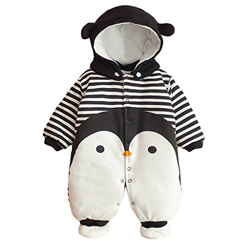 Baby Overall Strampler Winterjacke Onesie Unisex Cartoon Baby Strampelanzug mit Kapuze 6 Monate Vine