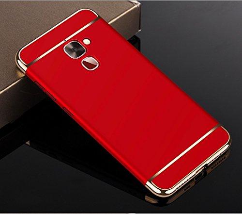 König-Shop Handy-Hülle Schutz-Case für LeEco Le 2 Bumper 3 in 1 Cover Chrom Etui Schale Rot