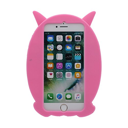 """iPhone 7 Coque Case Silicone Gel 3D Dessin animé Mignonne Chouette Apparence Souple étui pour Apple iPhone 7 4.7"""" Anti Choc ( ( Rose ) Rose"""