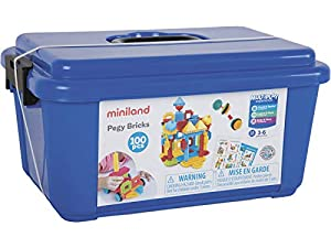 Miniland- Pegy Bricks (100 Piezas) Juego de construcción para niños, Multicolor (94043)