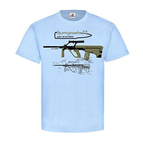 Sturmgewehr 77 Steyr AUG Armee-Universal-Gewehr Österreich Bundesheer deko Waffe Sportschütze Hemd T-Shirt #21787, Größe:S, Farbe:Hellblau