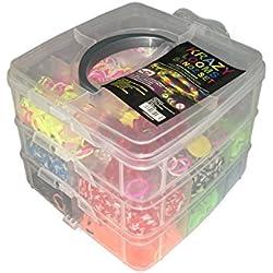 Krazy Looms 3000 Bandas Box Set Pulseras Kit Incluye Gomas y Accesorios Caja de Tres Pisos