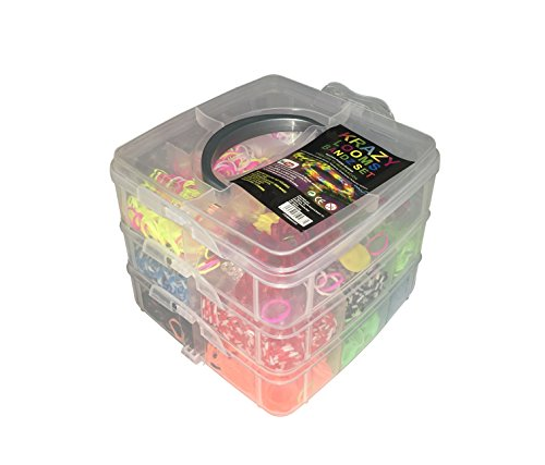 (Krazy Looms 3000Bänder Box Set Armbänder mit Gummizug und Zubehör Kit Box Drei Etagen)