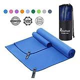 Asciugamano Microfibra Set 1 Asciugamano da Bagno e 1 Asciugamano da Mani,Asciugatura Rapida,Assorbente,Facile da Trasportare Perfetto per Spiaggia Campeggio Fitness Yoga + Borsa RETE Traspirante(Blu)