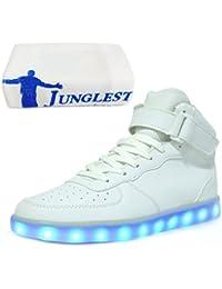 [Presente:pequeña toalla]Blanco EU 43, manera Hombres 7 Unisex Luminosas Zapatos de Carga Luz Zapatillas LED JUNGLEST® Colors