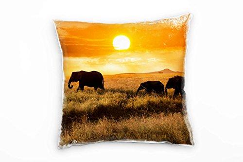 Paul Sinus Art Tiere, Elefanten, Familie, Sonnenuntergang, Orange Deko Kissen 40x40cm für Couch...