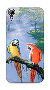 Amez designer printed 3d premium high quality back case cover for HTC Desire 828 (Parrot beautiful art painting)