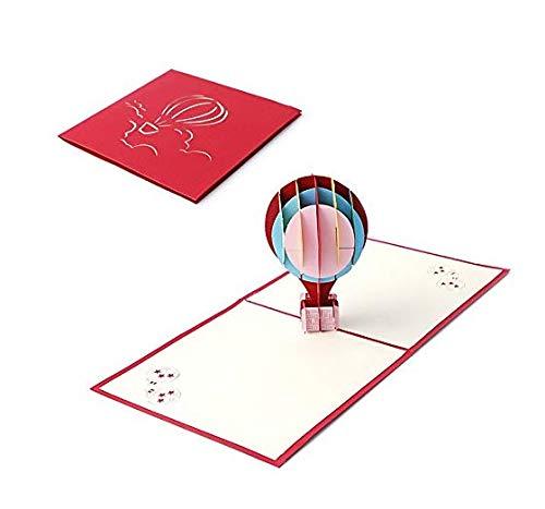 Hemore Heißluftballon Stereo Karte rot 1 Packung Dekorativer Ballon für ()