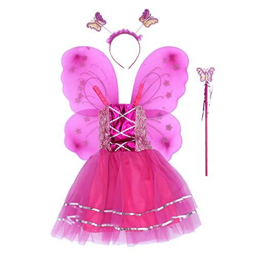 Amosfun Kinder Sling Kleid Set Schmetterling Engelsflügel Flower Fairy Rock Kleinkinder Cosplay Leistung Kostüm Karneval Kostüme Karneval Requisiten (Rosy)