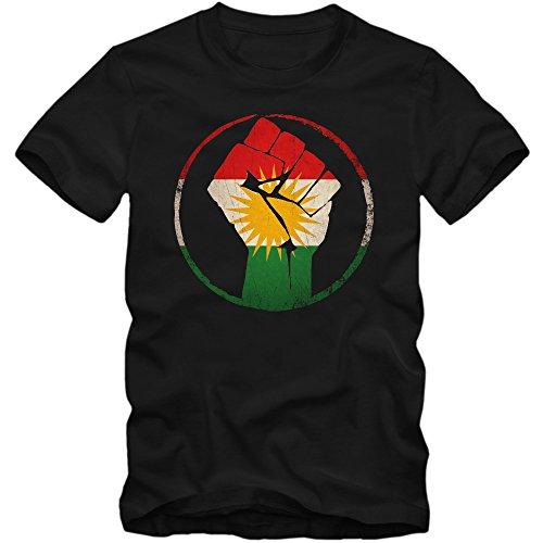 Shirt Happenz Kurden #1 Premium-Herrenshirt Herren Flagge Kurdistan Türkei Syrien Iran Irak Herrenshirt, Farbe:Schwarz (Deep Black L190);Größe:L