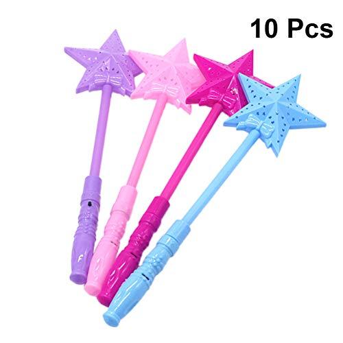 STOBOK 10pcs Leuchtender Zauberstab Weihnachten LED Leuchtstäbe Glow Stick Kinder Stern Zauberstab Feenstab Spielzeug Mitgebsel (Zufällige Farbe)