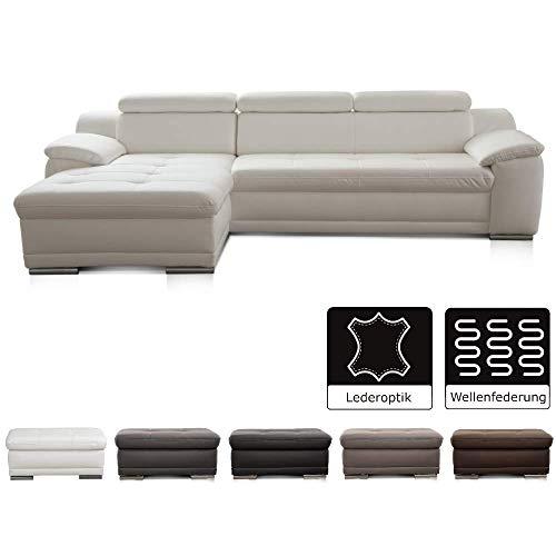 Cavadore Ecksofa Aniamo mit XL-Longchair links / Ledercouch L-Form mit Kopfteilfunktion im modernen Design / Sitzecke für Wohnzimmer in Lederoptik / Größe: 270 x 80 x 165 cm (BxHxT) / Kunstleder weiß