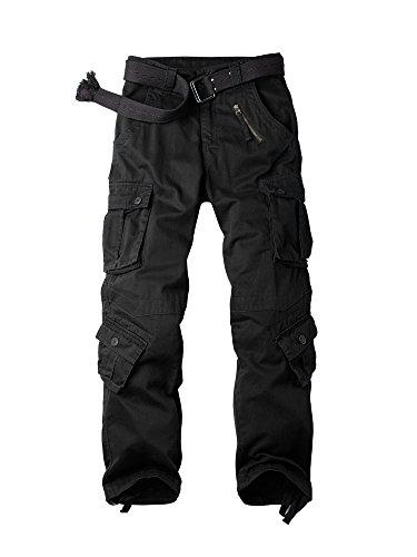 OCHENTA Herren Freizeithose Wasserwäsche Cargohose mehrere Tasche aus Baumwolle Loose-Fit #3357 Schwarz