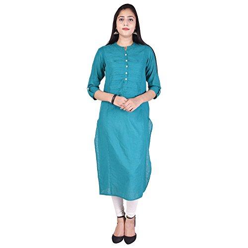 RHEA FASHION WORLD Women's Cotton Straight Solid 3/4 Sleeve Mandarin/Chinese Collar Casual...