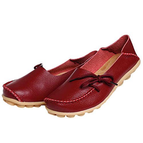 Vogstyle Mocassin Femme Casual Plat Tout-Match Chaussures Sandales Style 1 Rouge vineux