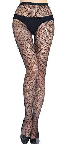 (HO-Ersoka Damen Netz-Strumpfhose eingewebtes Fencenet Muster schwarz onesize)