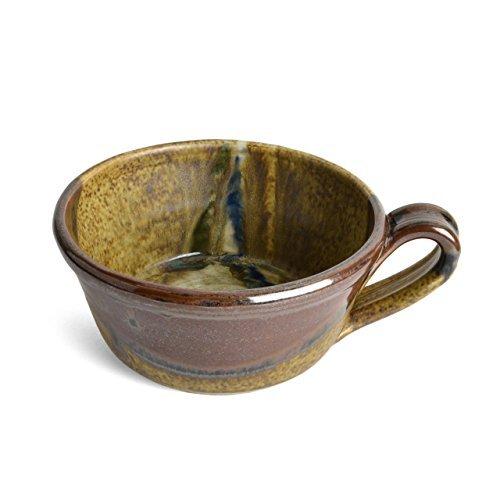 Larrabee Ceramics Handled Soup Bowl, Brown/Multi by Larrabee (Brown Ceramic Bowl)
