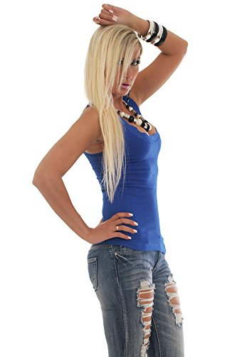 Fashion 4young Débardeur d'aspect poignets en maille dentelle Top Dentelle au crochet T-shirt Disponible en 13couleurs 2tailles 10077-3 Royalblau