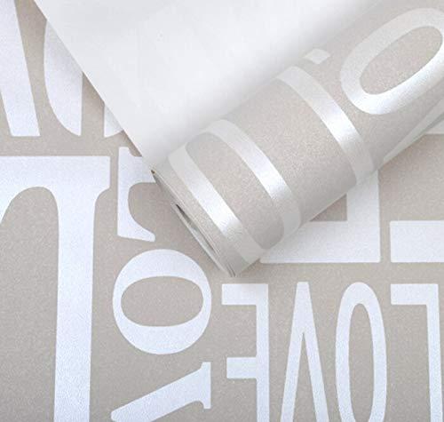KYKDY Lila/Grau/Rosa/Gelb/Weiß Flockworte Textured Letters Moderne Tapete Einfache Wohnwand-Tapeten mit Prägung, WP05906 Hellgrau, 10mx53cm