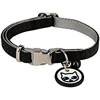Karl Lagerfeld Haustiere Katzen Halsband aus weichem Leder, Farbe: Schwarz, Größe: One Size