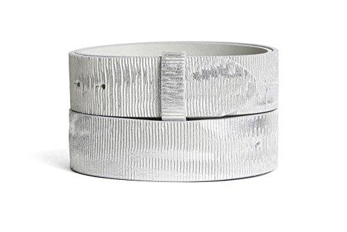 VaModa Belt, Cinturón en piel, modelo Heavy Metall, color blanco plata, Longitud=80cm, Botón automático, sin hebilla