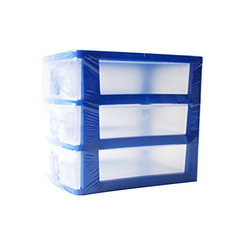 Jancery Desktop 3drawers klein Kunststoff Aufbewahrungsbox Schublade Tower Organizer für Schulen, Büros und Spielzeuge, Plastik, blau, 13 * 9 * 11.5CM - Kleine Desktop-tower