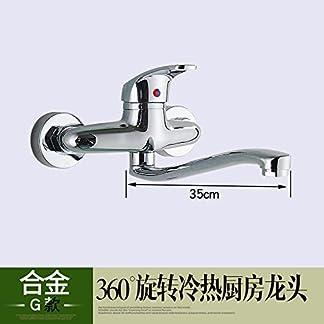 41Vt7xANdwL. SS324  - Todo el cobre SunSuitipo mural cocina grifo de agua fría y caliente, solo para colgar en la pared de la cuenca del plato, Fregadero, lavabo, grifo de agua puede girar