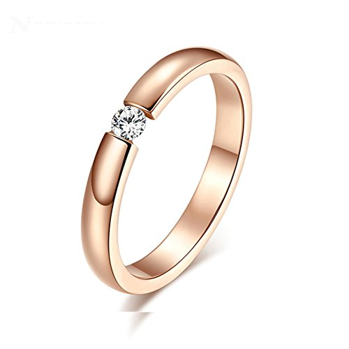 Heyrock Women's Stainless Steel Single CZ Cubic Zirconia Ring for Wedding Engagement,3mm