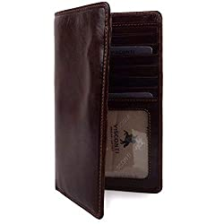 Visconti Mens Italian Leather Slim Suit Wallet by ; Enzo Range Veg Tan Classic Boxed