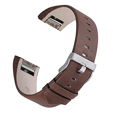 For Fitbit Charge 2, bayite Replacement Leather Straps, Chocolate Brown 5.5 - 8.1 inches